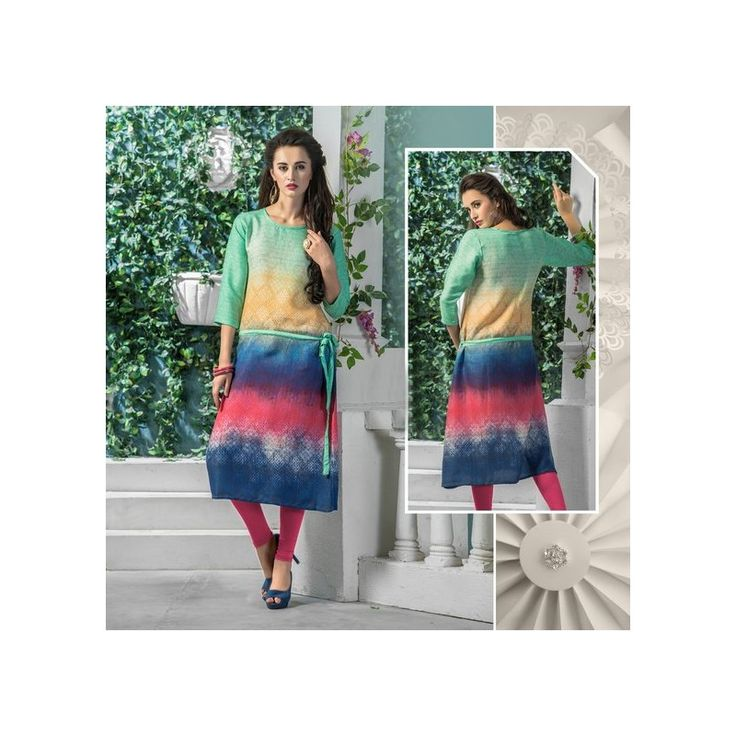 Viva N Diva Green, Beige, Blue & Dusty Pink Color Pashmina Kurti for Rs 900 at #Celebstall  #kurti #fashion #style #trendy #onlineshopping  http://goo.gl/meQ9sY