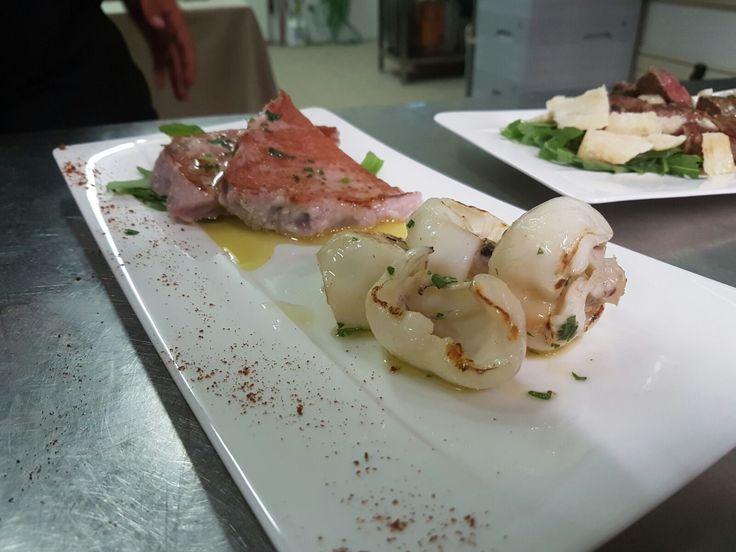 Tonno e Seppiolina scottata ai ferri...grilled Tuna and Cuttlefishes
