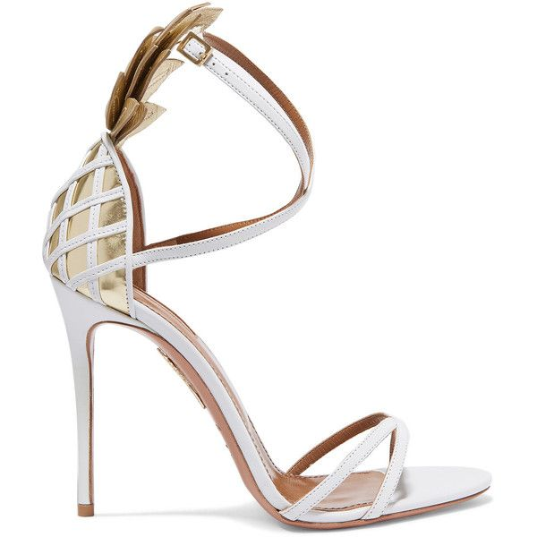 Aquazzura Pina Colada embellished glossed-leather sandals ($475) ❤ liked on Polyvore featuring shoes, sandals, white, high heels sandals, white strappy sandals, embellished sandals, white high heel shoes and strappy sandals