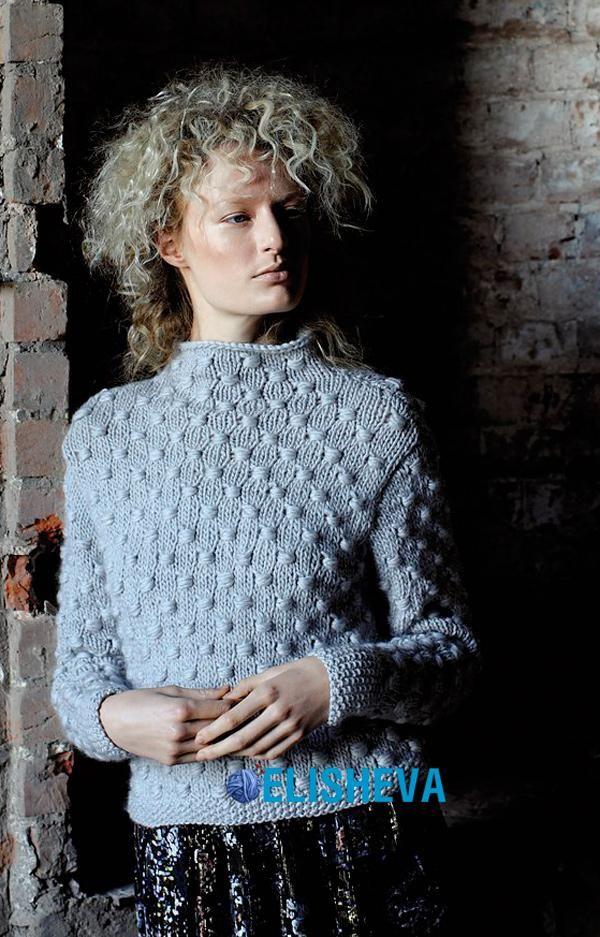 Непревзойдённой красоты свитер с воротником стойка от Gemma Atkinson вязаный спицами