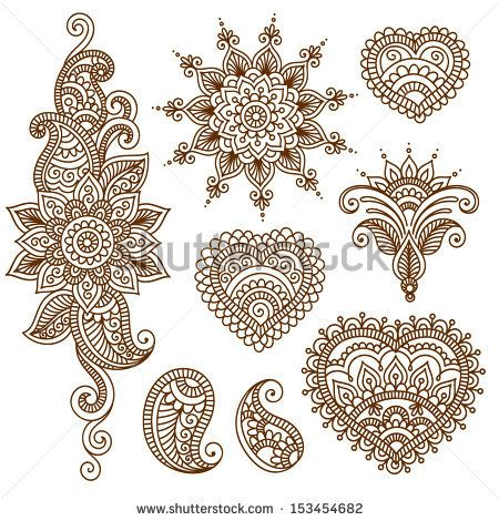 Ornamental flowers. Vector set with abstract floral elements in indian style by Bariskina, via ShutterStock