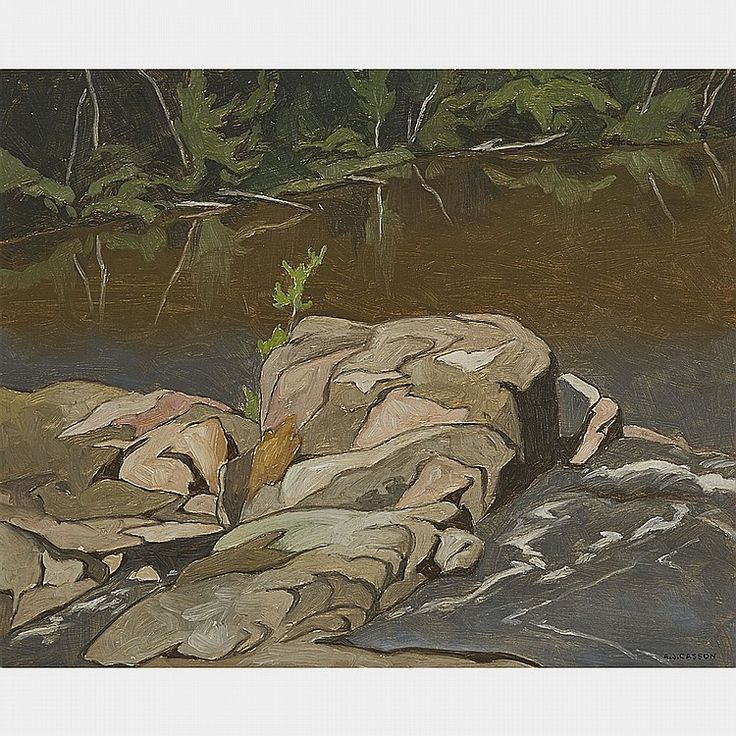A.J. Casson - Below Marshes Falls 12 x 15 Oil on board (1974)
