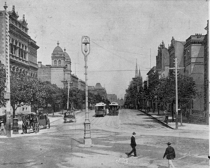 Collins Street from the steps of the Old Treasury Building in Spring Street. From the Russell Jones collection.