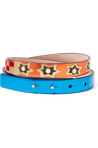 Gold, blue and orange textured-leather, crimson and green suede (Lamb)  Push stud fastening Made in Italy
