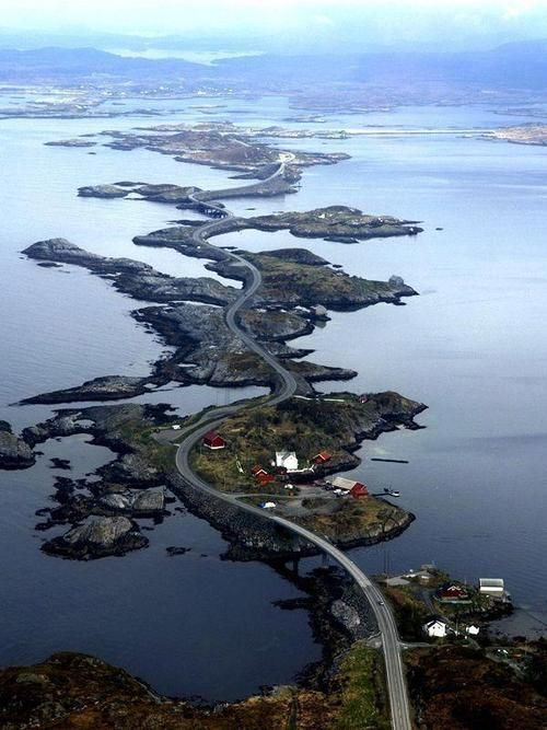 The Atlantic Road is a 8-kilometre long stretch of road between the towns of Kristiansund and Molde, the two main population centres in the county of Møre og Romsdal in Fjord Norway. The road starts approximately 30 kilometres southwest of Kristiansund and ends 47 kilometres north of Molde.
