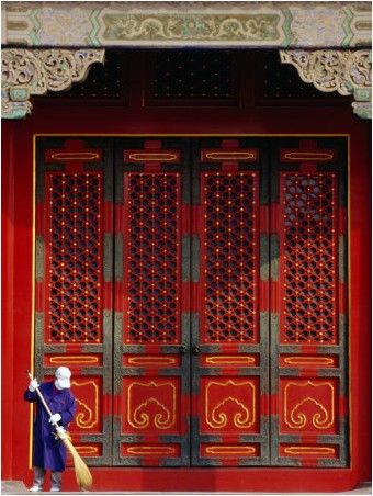 Cleaner Sweeps Steps Inside The Forbidden City., Beijing, China,