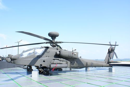 An AH-64D Apache attack helicopter in Singapore's Air Force