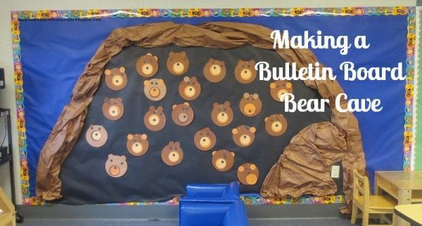 This is a fun and super-easy way to make a bulletin board bear cave. All you need is butcher paper, staples, and a space to build your cave!