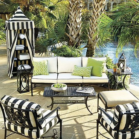 Positano Towel Cabana Outdoor Decor Pool Furniture Sets