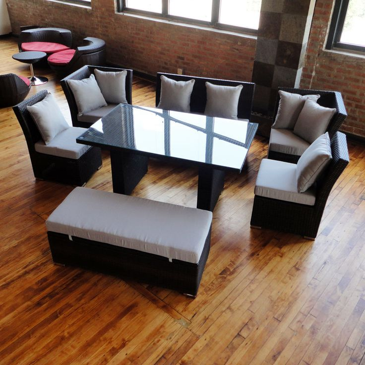 Unique Dining Set To Sectional Sofa Now Available In Black Wicker With  Medium Grey Cushions Only