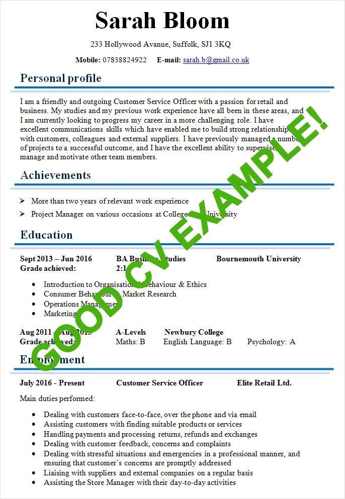 Example Of A Good Cv Modles De Cv Good Cv Writing A Cv Good Cv Writing A Cv Job Cv