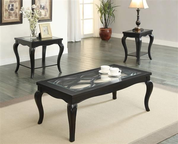 Sharlie Black Wood Tempered Glass Coffee Table Set