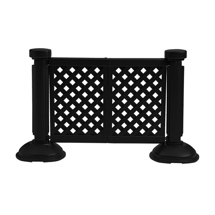 """$86 Grosfillex US962117 2 Panel Resin Patio Fence - Black Length: 46 1/2"""" Height: 38 1/2"""""""