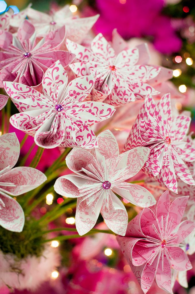 Pink origami flowers