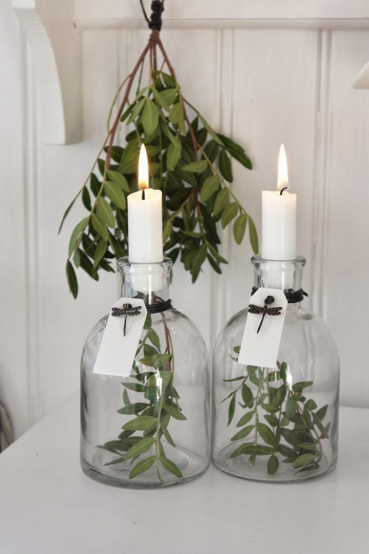 DIY glass bottle candle holders: