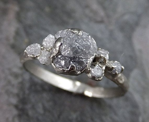 Raw Diamond White gold Engagement Ring Rough Gold by byAngeline