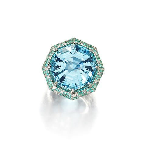 An aquamarine, Paraiba tourmaline and diamond ring
