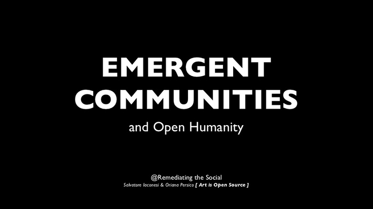 Emergent creative communities and the Open Source Cure, at the Remediating the Social Conference in Edinburgh
