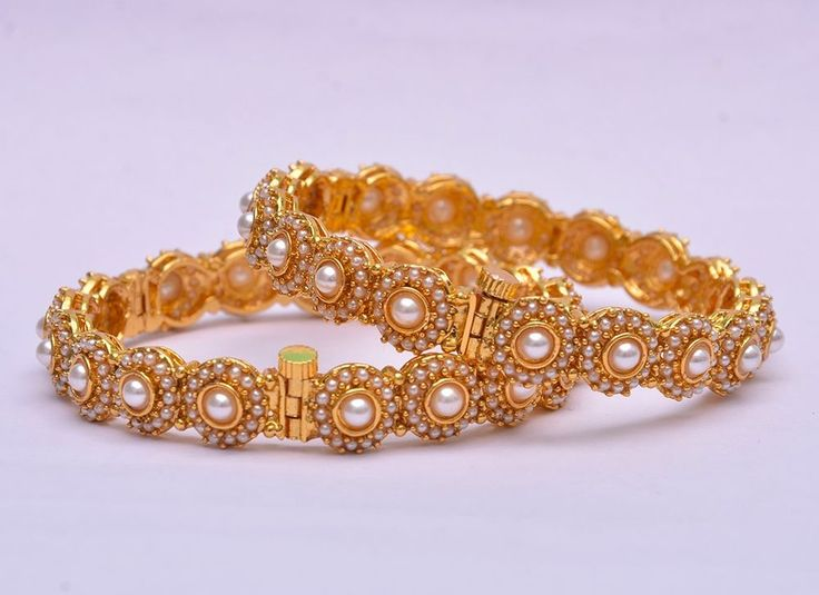 Gold Plated Vintage Bridal Fashion Style Pearls Bangles Kadas Bollywood Jewelry