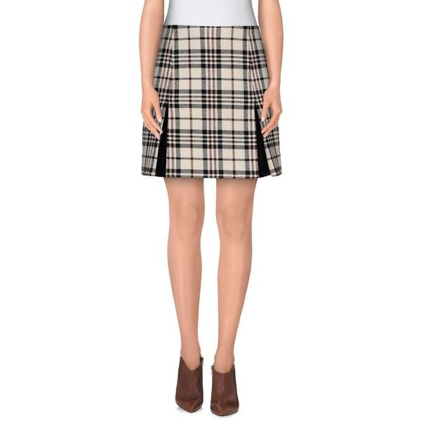 Carven Mini Skirt ($295) ❤ liked on Polyvore featuring skirts, mini skirts, ivory, short mini skirts, plaid mini skirt, tartan skirt, plaid pleated skirts and short pleated skirt