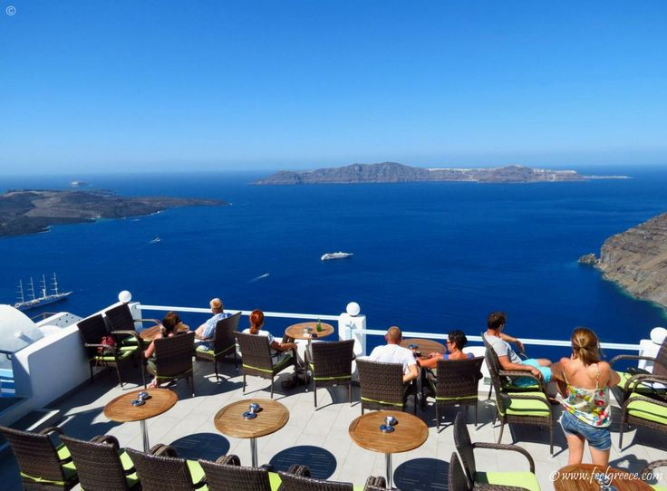 Coffee time in Firostefani, the best caldera view on Santorini
