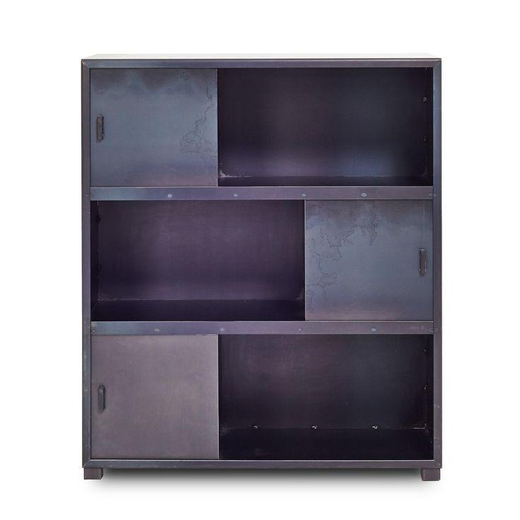 """31"""" x 12"""" x 37"""" High Flatiron-Wrought Steel Bookcase"""
