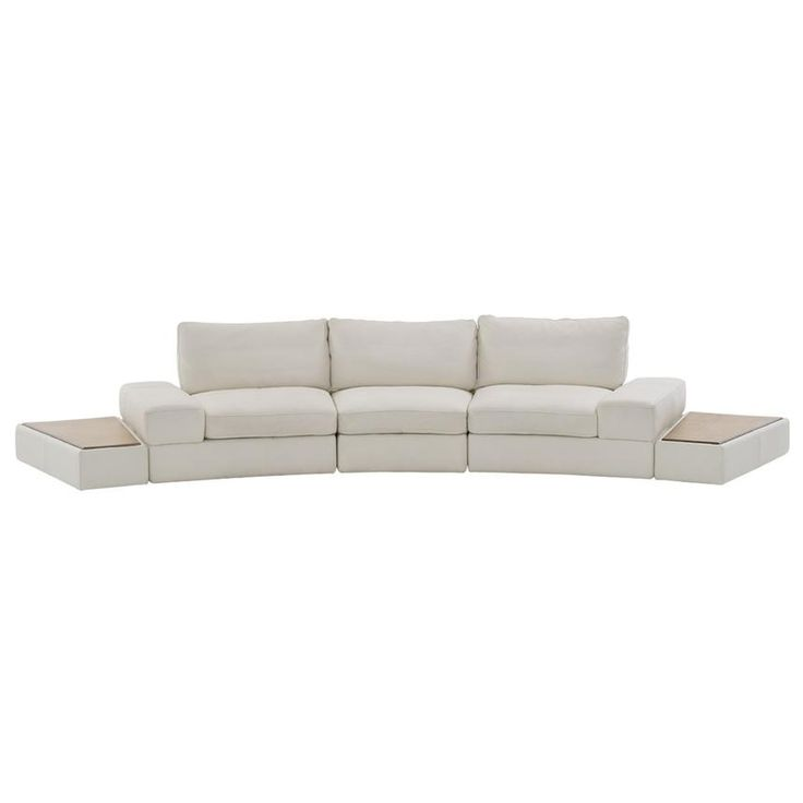the gina leather sofa wnatural side table is stunning for your modern living room with white genuine top grain leather upholstery and two attached natural