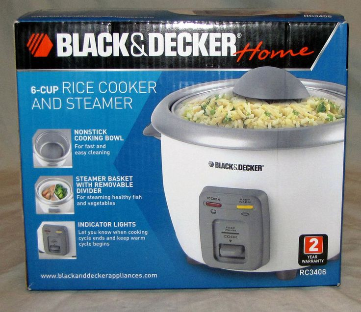 Rice Cooker Steamer Black and Decker 6 Cup Nonstick With Steamer Basket NEW USA