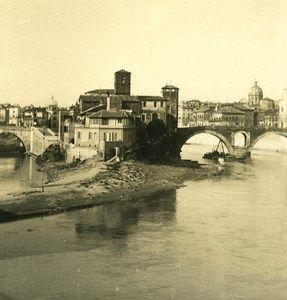 Italy Roma Tiber Island Old NPG Stereo Photo 1900