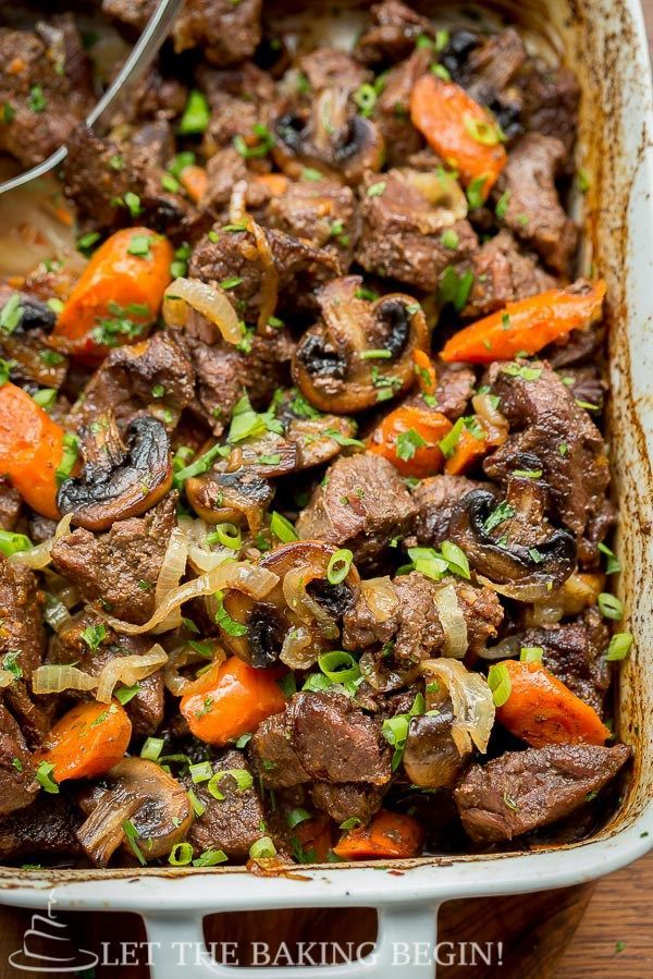 Beef with Caramelized Onions and Mushrooms - by LetTheBakingBeginBlog.com @Letthebakingbg