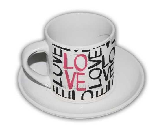 Tazzina da caffè con grafica con scritte