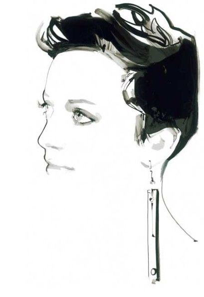 David Downton's sketch of jewellery designer Sarah Angold