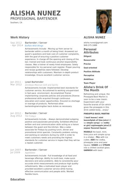 9 best Creative Resumes images on Pinterest Resume format, Cv - bar tender resume