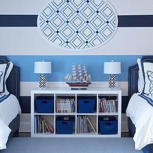 Morgan Harrison Home - boy's rooms - shared kids room, shared boys room, shared boys bedroom, striped walls, striped accent wall, white and ...