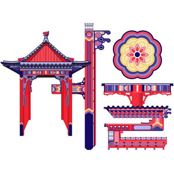 전통 건축물을 사용한 타이포그래피입니다.