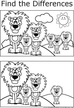 If you look carefully, you can find differences between the two pictures of angry, standing lions in this printable coloring page for kids.