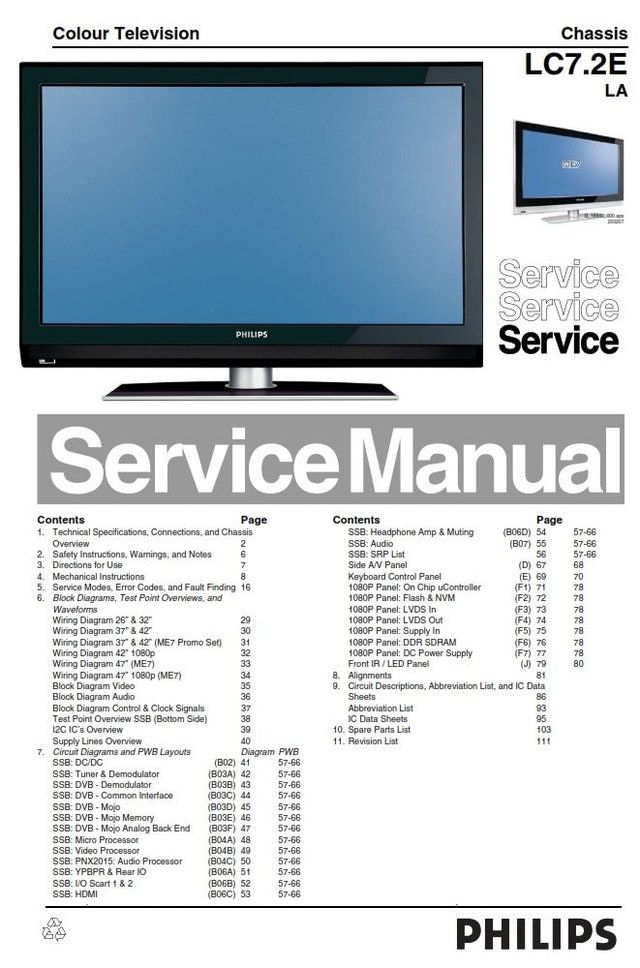 Philips 47pfl7642d Lcd Tv Service Manual Schematics Tv Services Lcd Tv Circuit Diagram