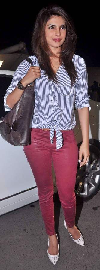Priyanka Chopra in Burgundy Colored Denims