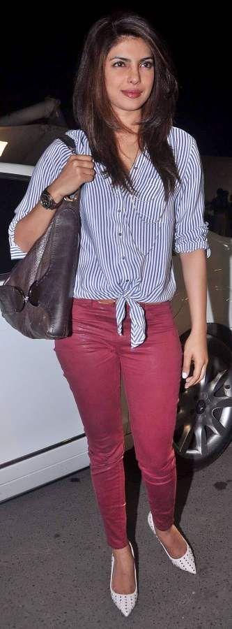 Priyanka Chopra in Burgundy Colored Denims