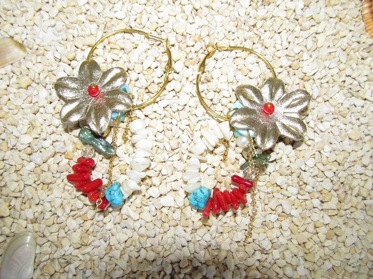 Handmade earrings (1 pair)  Made with leather flowers, antiallergic gold hoops, gemstones and glass beads.
