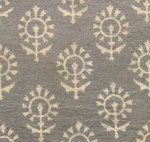 Hand Block Print, Cotton Fabric. Natural Dyes. 2½ Yards. Gray U0026 Beige
