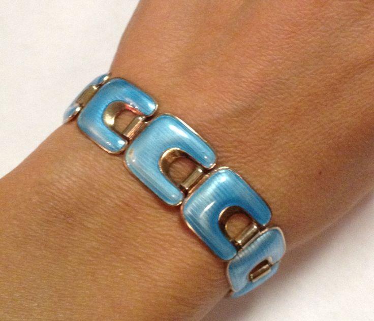 Bracelet Enamel Guilloche Blue Norway J. Tostrup Scandinavian Art Sterling Silver by EmbracetheEarth on Etsy