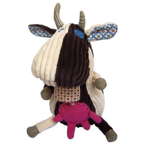 The ever so moootiful Original Milkos the Cow from Les Deglingos; despite being bonkers she is a gentle cow with her hooves squarely on the ground. Made from super soft thick corduroy, jute fabric and a patchwork of hip patterns she is a cow to love and cherish.