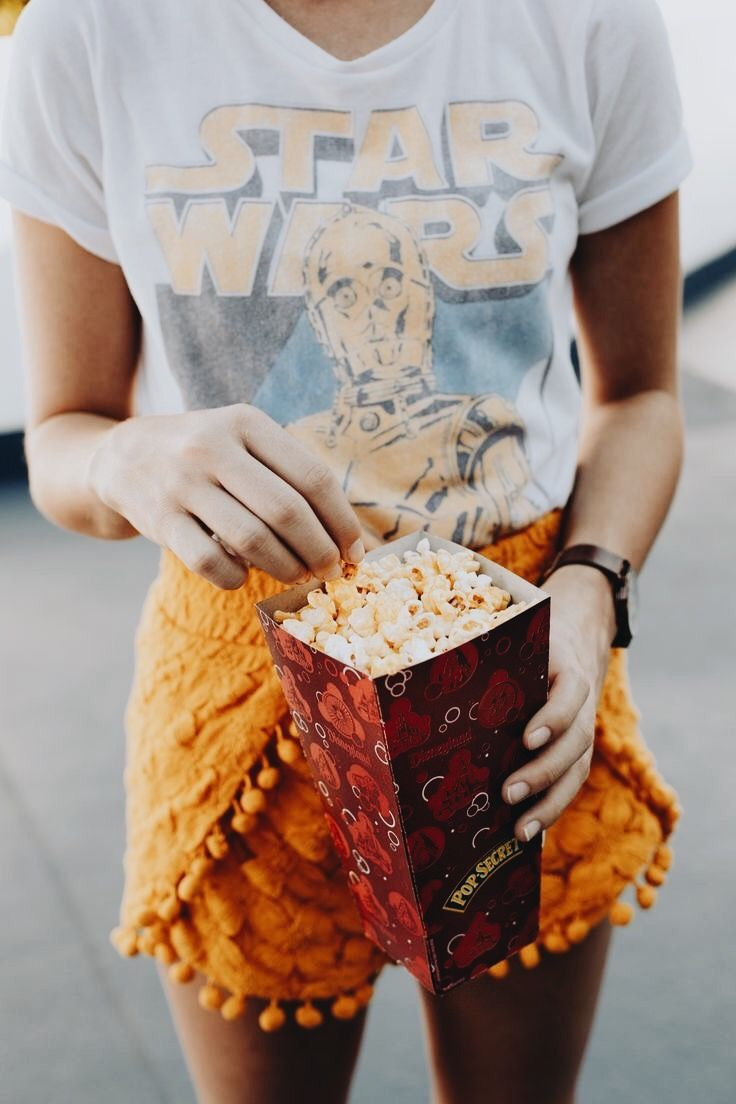what could be better than pom pom shorts, c3po, and popcorn?!