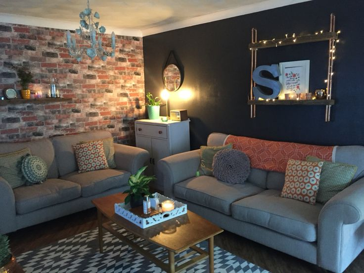 Industrial Grey Brick Wallpaper Living Room Vardagsrum Pinterest Vardagsrum Design Och