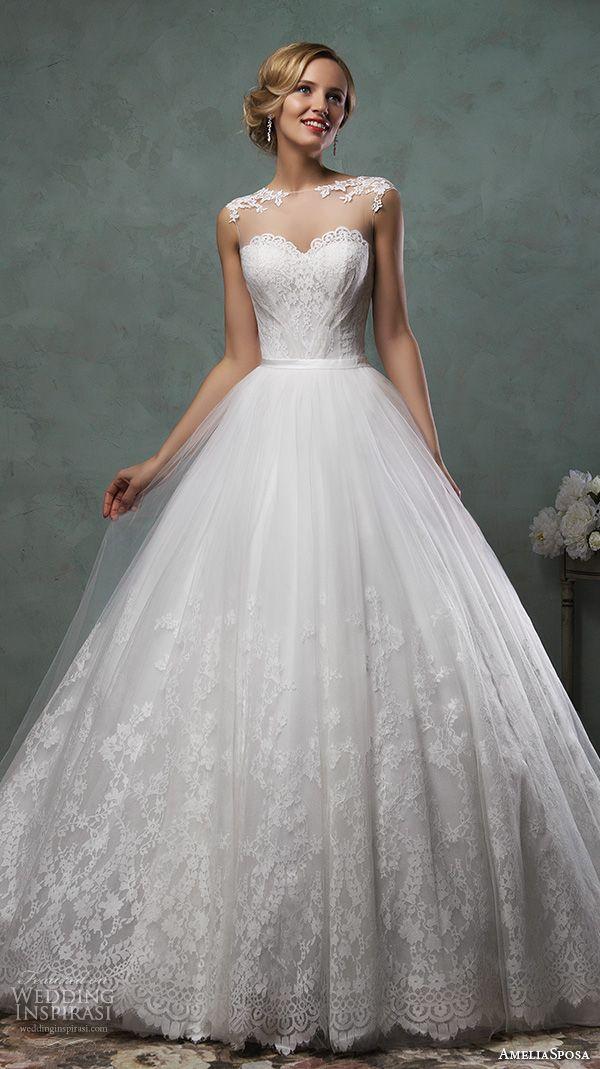 modern trousseau fall 2016 bridal gowns beautiful a  line wedding dress clean simple style boat neckline jeweled belt ribbon train style minnie