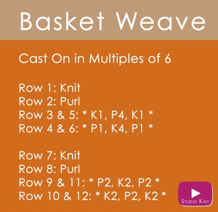 Basket Weave Knit Stitch Written Easy Free Knitting Pattern with Studio Knit