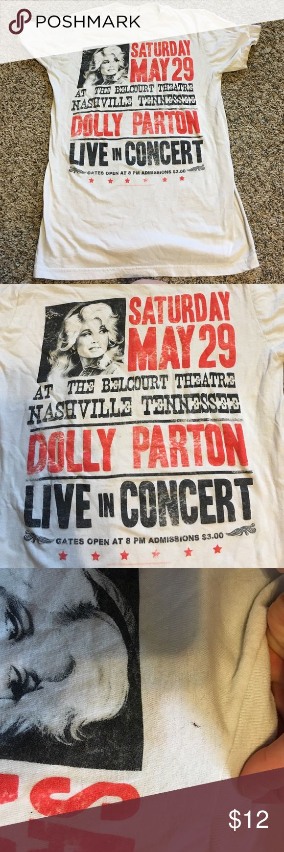 Women's XS Dolly Parton concert tan t-shirt Bought it at Urban Outfitters because I love ❤️ Dolly... XS is just too small for me. There is a small hole close to the collar. Not sure where it came from or I bought it that way. Besides the hole is in great condition. Urban Outfitters Tops Tees - Short Sleeve