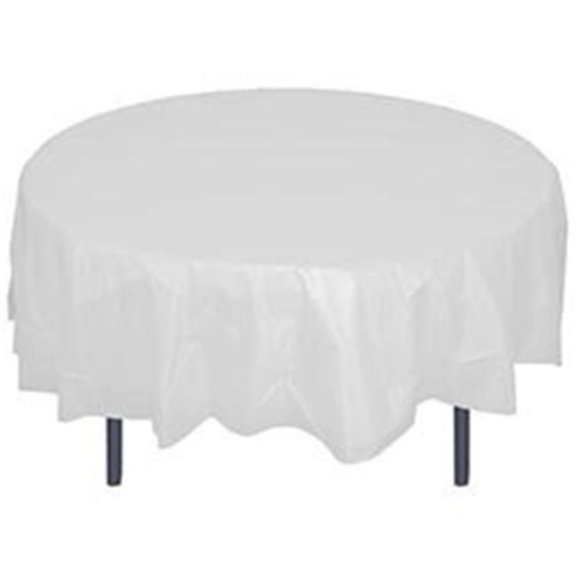 Crown Display 91023 Pe 84 In Round Plastic Table Cover 44 White Pack Of 48 In 2020 Round Table Covers Plastic Table Covers Cloth Table Covers