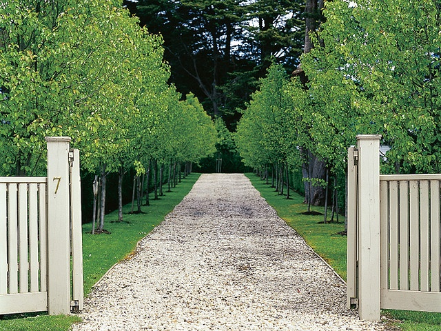 """St Ambrose  From the gateway visitors see the farm's century-old cypresses at the far end of the avenue – but note how the driveway curves to the left to arrive suddenly at the forecourt.  from """"The Enchanted Garden"""" by Paul Bangay  Photo by Simon Griffiths"""
